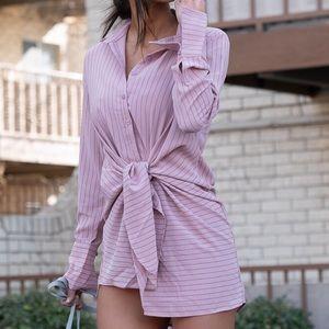 Pink striped tie knit shirt dress